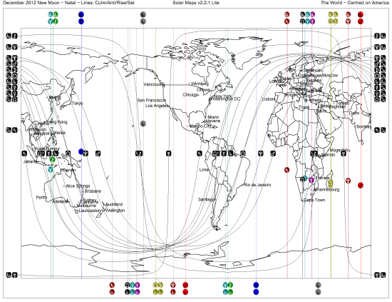 World Map for December 2012 New Moon