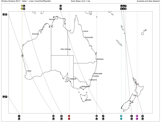 Solar Map of Australia and New Zealand at time of Solstice