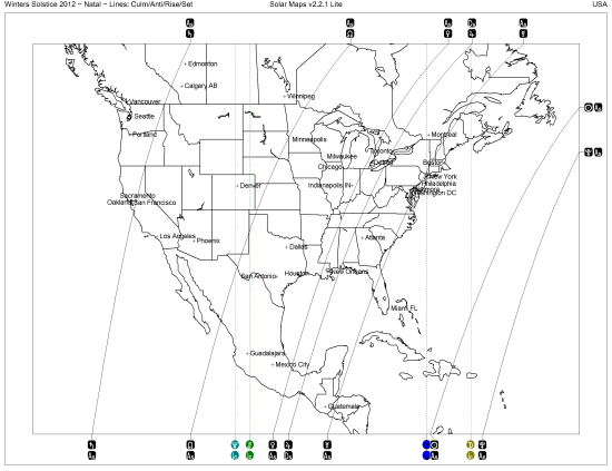 United States Solar Map at time of Winters Solstice 2012