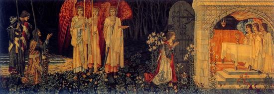 The Attainment: The Vision of the Holy Grail to Sir Galahad, Sir Bors, and Sir Perceval. Tapestry woven by Morris & Co. 1895-96, Birmingham Museum & Art Gallery