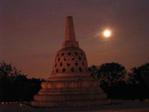 Buddhist Stupa under the Full Moon (Photo: Unknown Artist)
