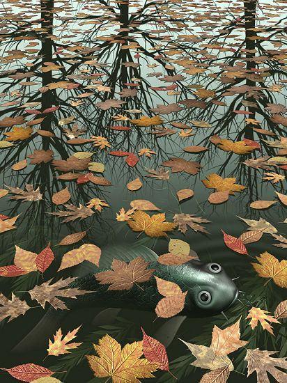 Three Worlds I by MC Escher